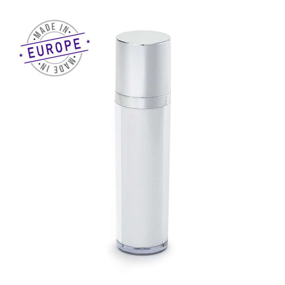 50ml regula airless bottle in white and silver