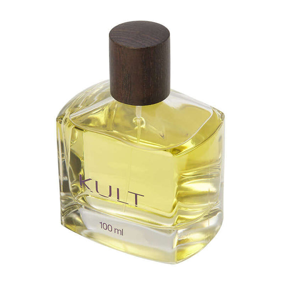 100ml glass fragrance bottle with dark wood cap