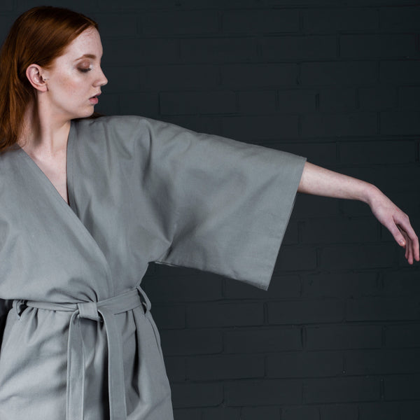 Kimono with pockets and belt batch manufactured in Scotland (sleeve)
