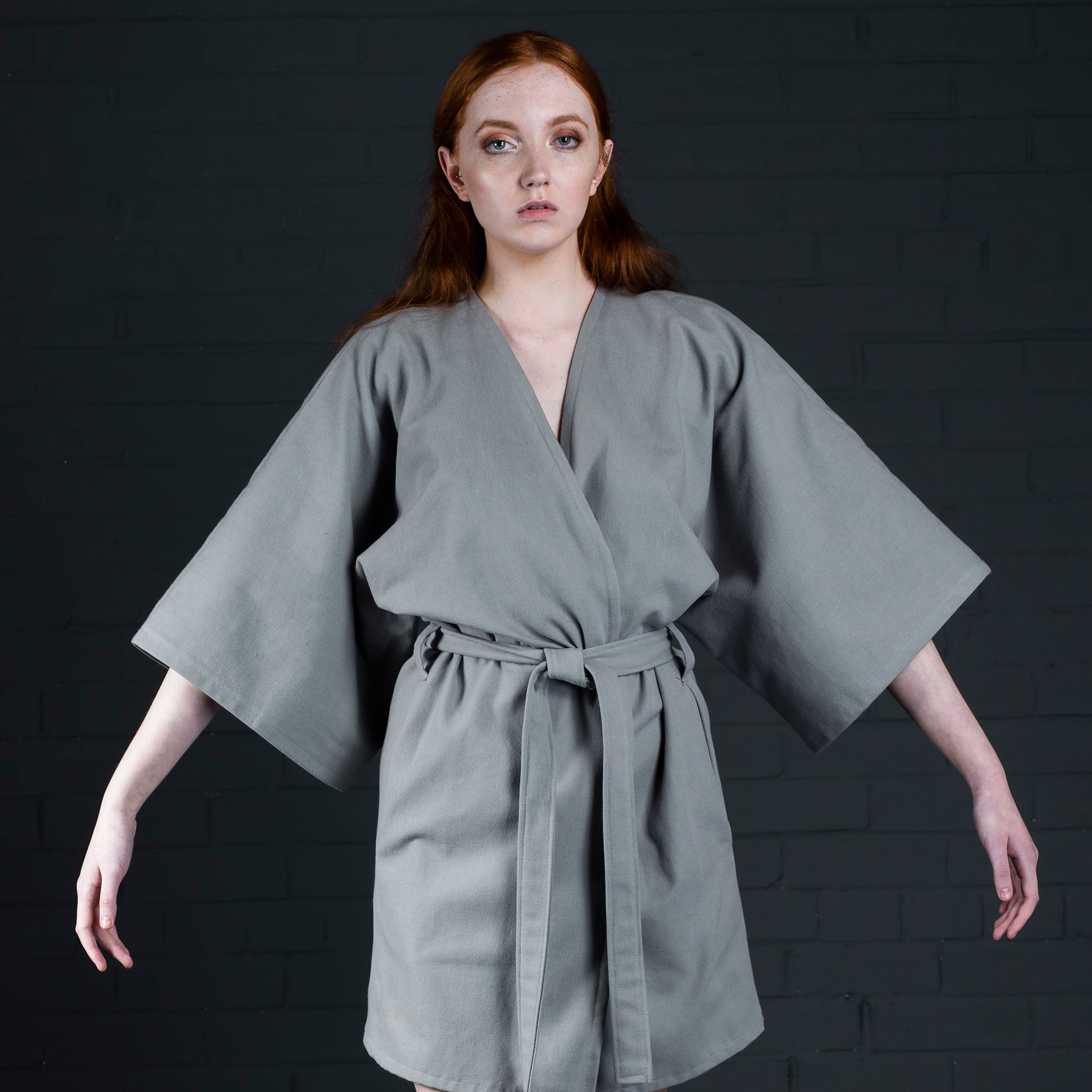 Kimono with pockets and belt batch manufactured in scotland