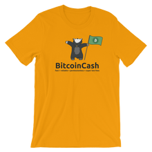 "Bitcoin Cash ""max badger""  Green Flag Bella & Canvas 3001 T-Shirt"