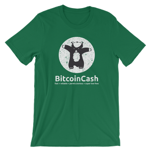 "Bitcoin Cash ""max badger"" Distressed Graphic Bella & Canvas 3001 T-Shirt"