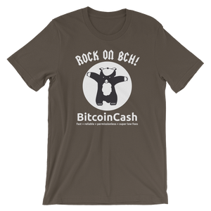 "Bitcoin Cash ""Rock On..."" Bella & Canvas 3001 T-Shirt"