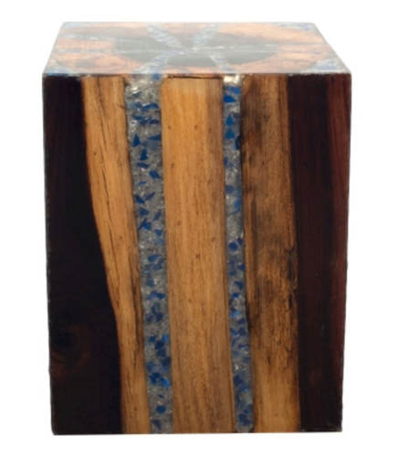Wood Cube Side Table