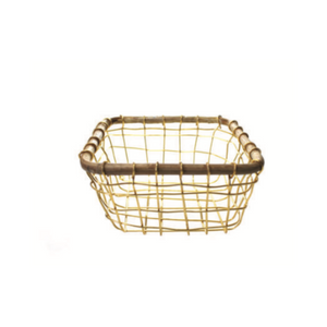 Square Gold Wire & Cane Basket