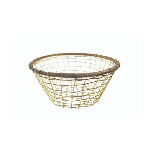 Round Gold Wire & Cane Basket