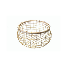 Small Round Gold Wire & Cane Basket