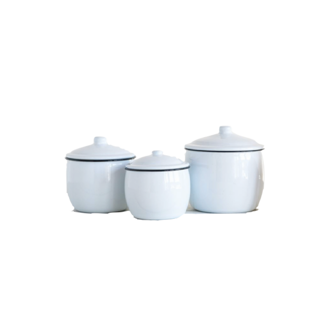 Rounded Enameled Canister Set