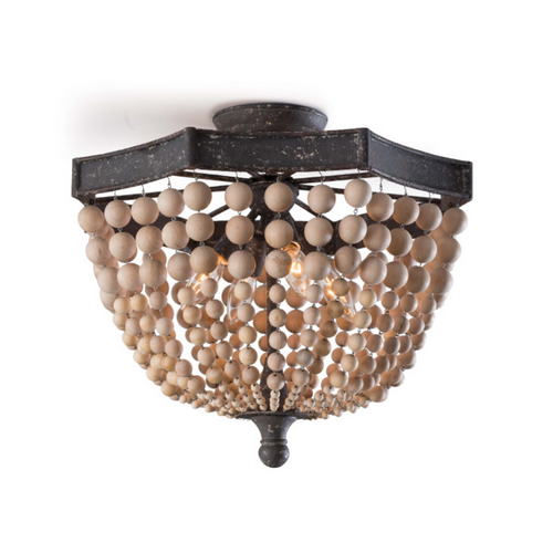 Wood Bead Semi Flush Chandelier