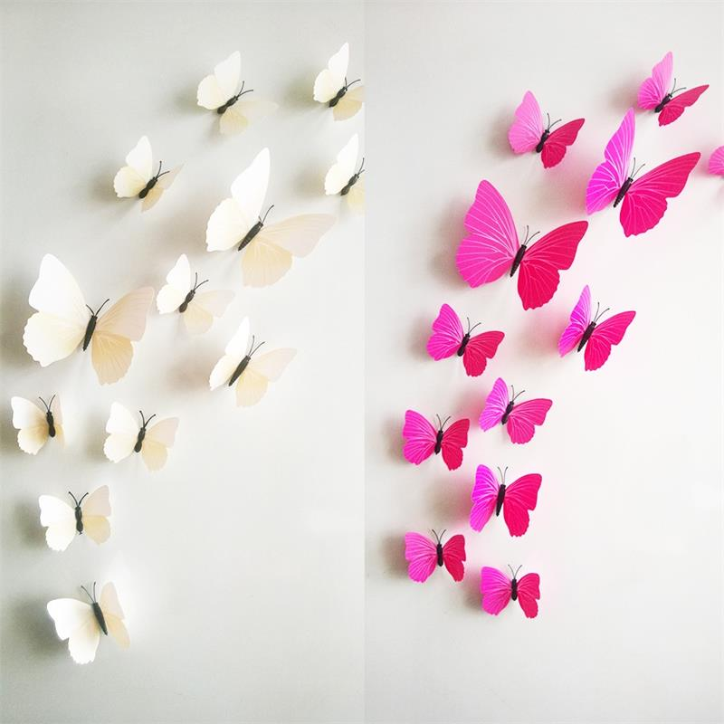 black, white, blue or pink 3d butterfly wall sticker - 12pcs/set