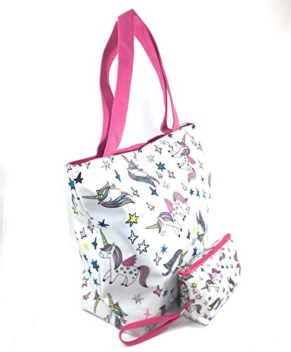 ad6bb39a96d9 Rainbow Unicorn Large Top Handle Shoulder Bag Shopping Bag Beach Tote Bag  with Makeup Pouch Purse Wristlet for Women & Girls (White with Stars)