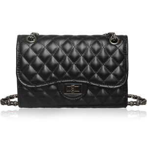 Quilted Classic Crossbody Shoulder Bag Women's Purse With Metal Chain Strap