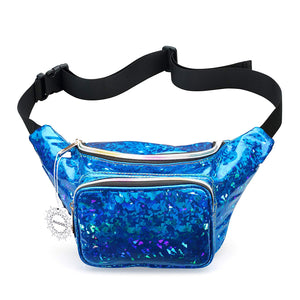 Womens Shiny Neon Fanny Pack Bag - Great for Rave Festival Hologram Bum Travel Waist Pack