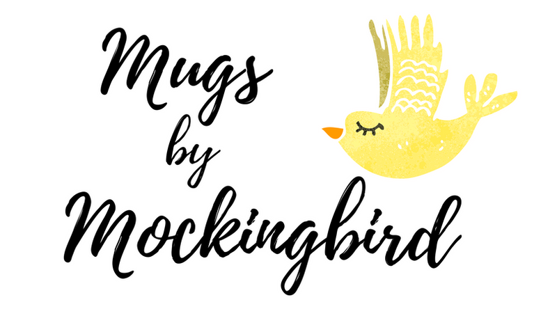 mugs by mocking bird Logo, coffee mugs