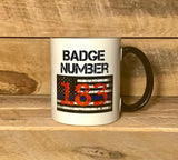 police officer mug police officer coffee mug  police badge number mug