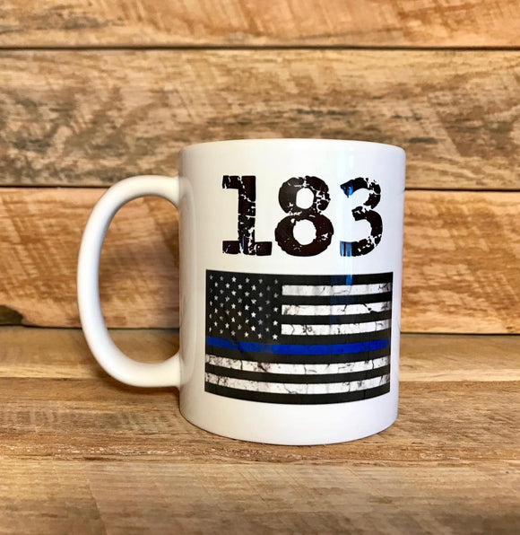 blue line coffee mug gift for police officer with badge number