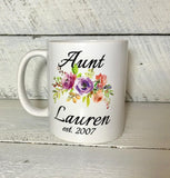 personalized coffee mug for Aunt birth arrival gift