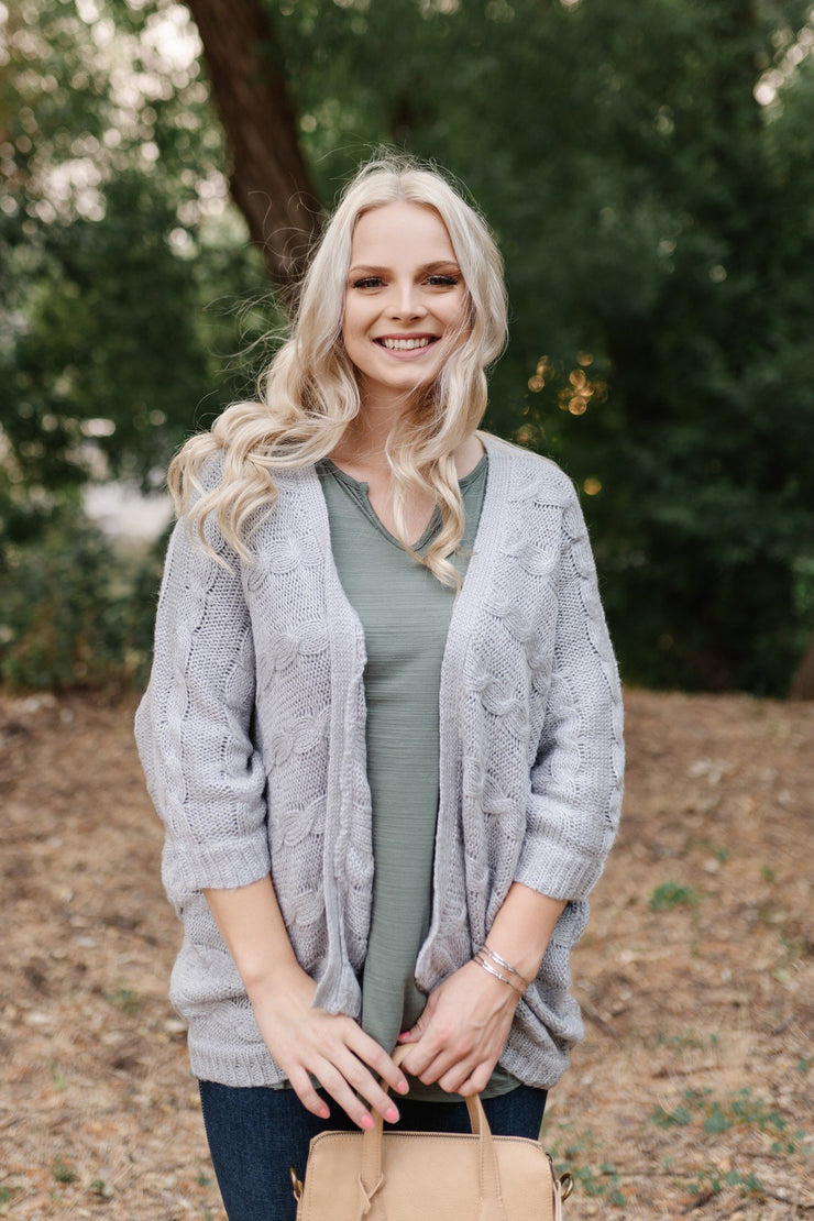 Gray For All Seasons Knit Cardigan - Simply Sass Boutique