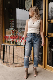 Risen Distressed Boyfriend Jeans - Women's Clothing AfterPay Sezzle KanCan Judy Blue Simply Sass Boutique