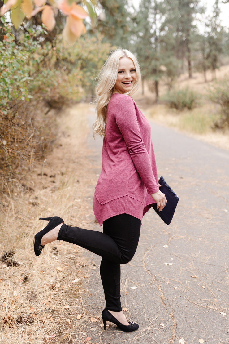 Beware The Shark Bite Top In Plum - Women's Clothing AfterPay Sezzle KanCan Judy Blue Simply Sass Boutique