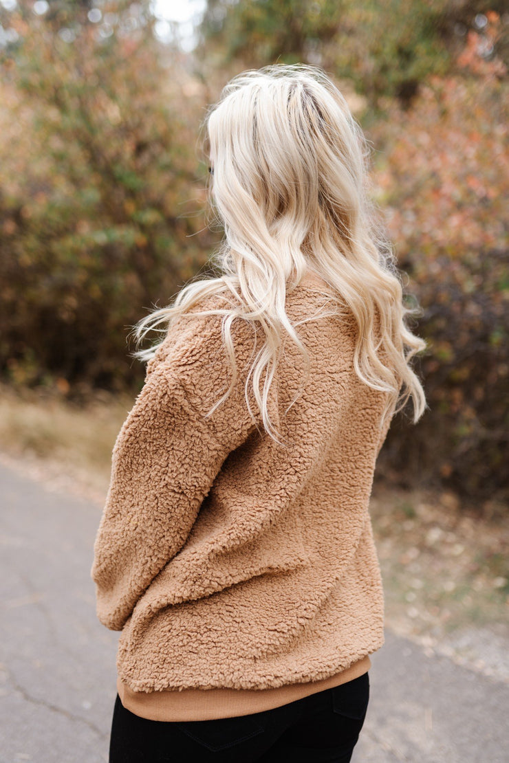 All Hail Sherpa Sweater In Camel - Women's Clothing AfterPay Sezzle KanCan Judy Blue Simply Sass Boutique