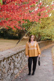 Threads Of Autumn Top In Marigold - Women's Clothing AfterPay Sezzle KanCan Judy Blue Simply Sass Boutique