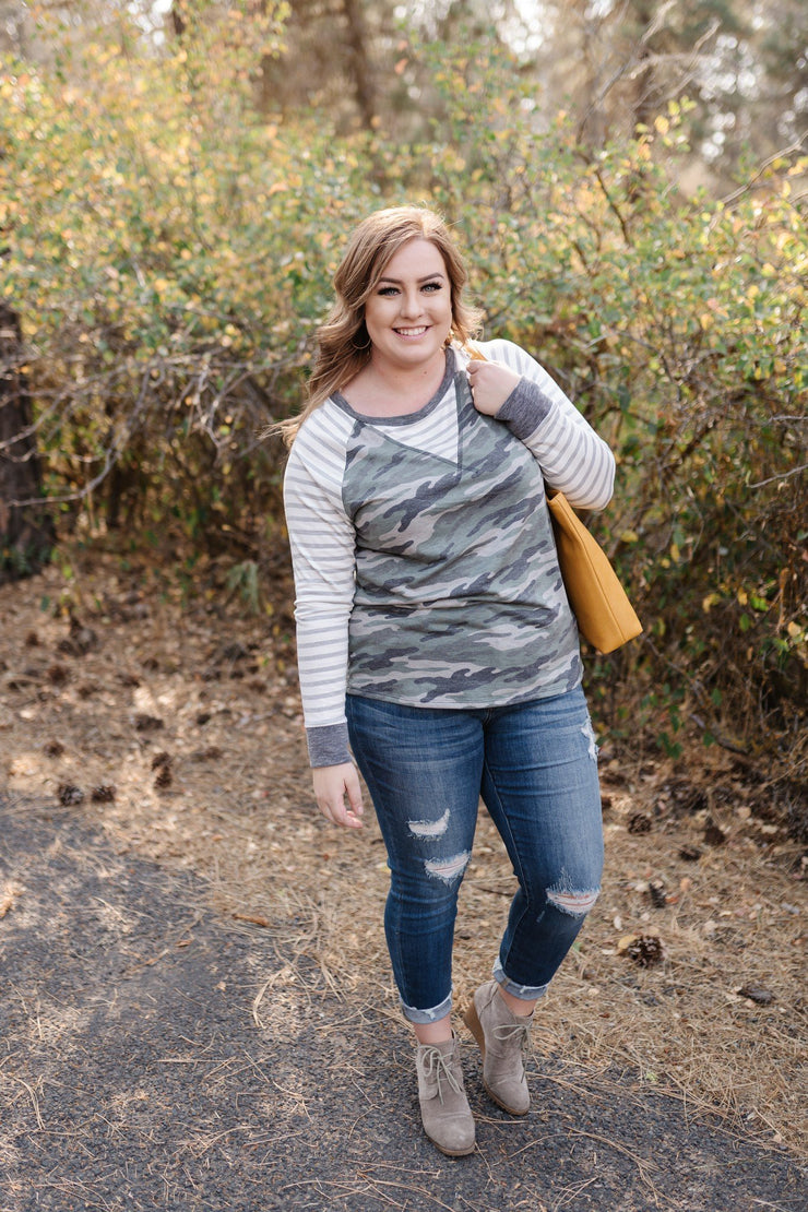 Hideaway With Me In Camo Stripes - Women's Clothing AfterPay Sezzle KanCan Judy Blue Simply Sass Boutique