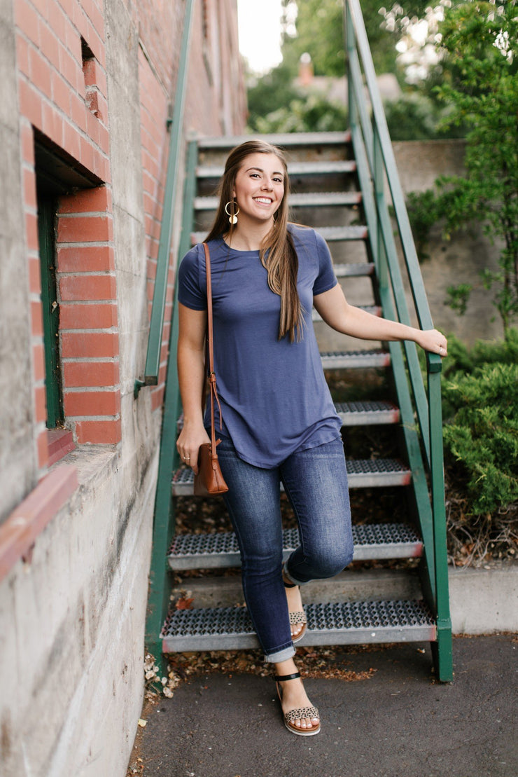 Everyday Basic Coal Blue Top - Women's Clothing AfterPay Sezzle KanCan Judy Blue Simply Sass Boutique