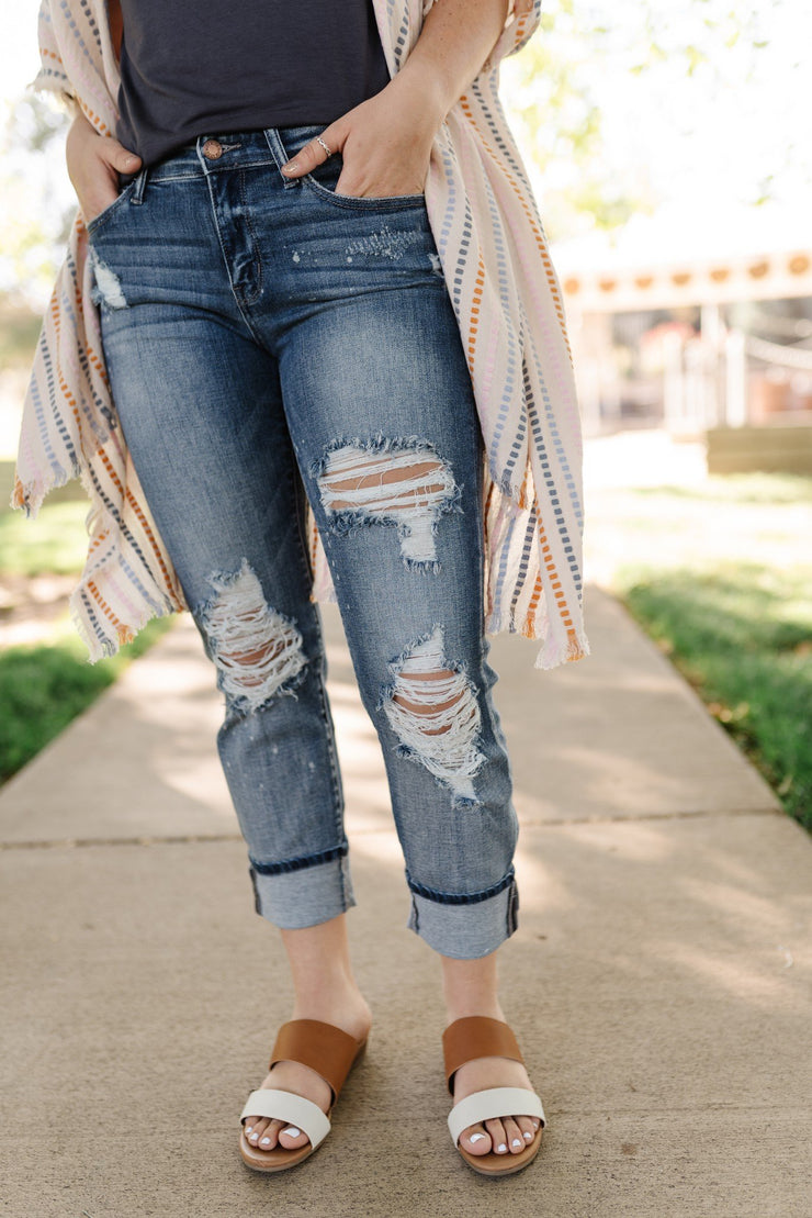 Judy Blue Bleach Splash Boyfriend Jeans - Women's Clothing AfterPay Sezzle KanCan Judy Blue Simply Sass Boutique