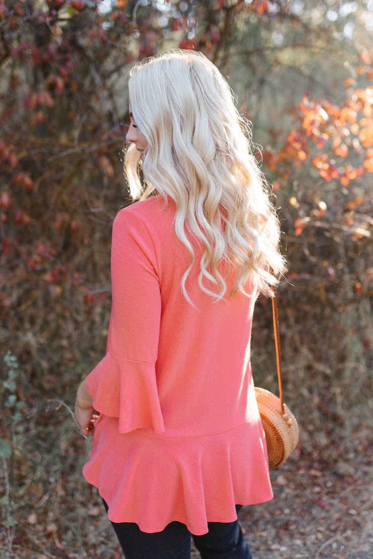 How Sweet It Is Top In Sunset Coral - Women's Clothing AfterPay Sezzle KanCan Judy Blue Simply Sass Boutique