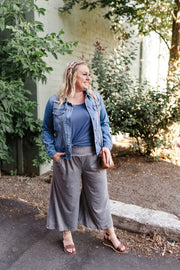 Heathered Grey Sparkler Gaucho Pants - Women's Clothing AfterPay Sezzle KanCan Judy Blue Simply Sass Boutique