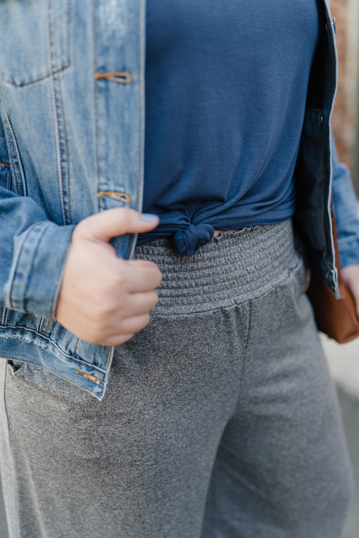 Heathered Grey Sparkler Gaucho Pants