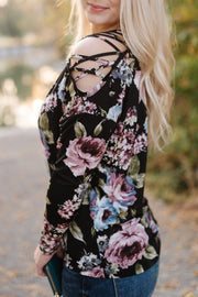 Bringing You Flowers Cold Shoulder Top