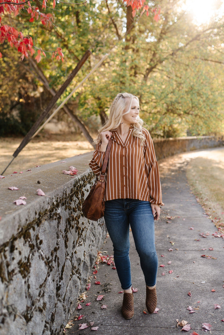 Toffee And Cream Striped Blouse - Women's Clothing AfterPay Sezzle KanCan Judy Blue Simply Sass Boutique