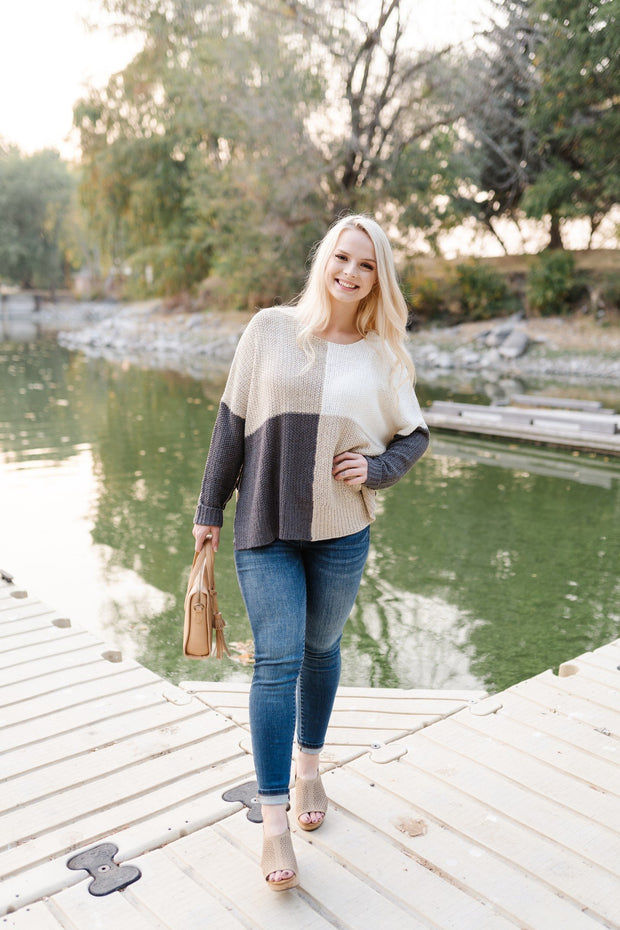 Step Out Of The Boxy Sweater In Taupe