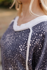 Moving Mountains For You Navy Dotted Top