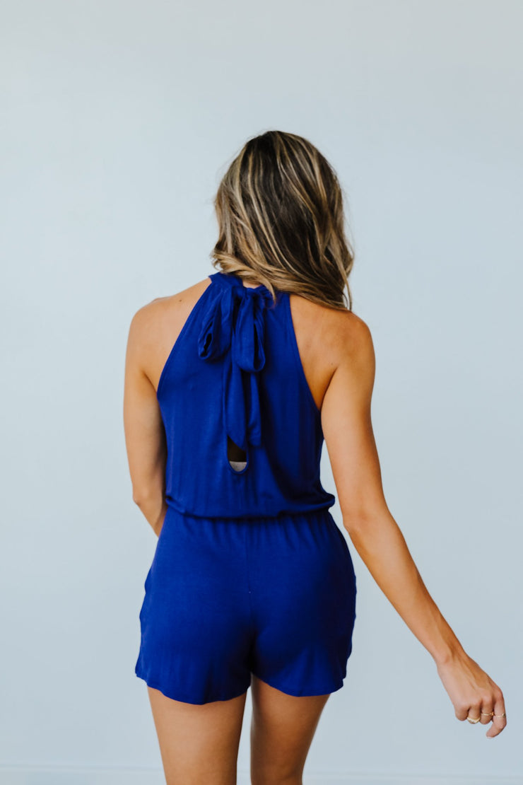 Hayley Halter Romper In Navy - Simply Sass Boutique