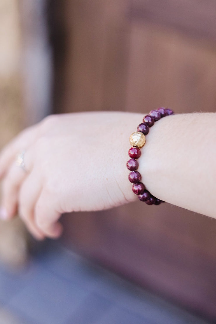 Touch Of Gold Stone Bracelet In Wine - Women's Clothing AfterPay Sezzle KanCan Judy Blue Simply Sass Boutique