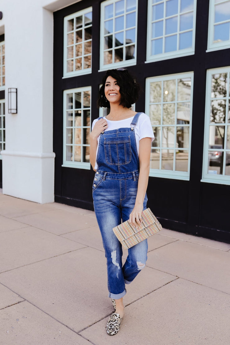 Under Siege KanCan Overalls In Medium Wash - Simply Sass Boutique