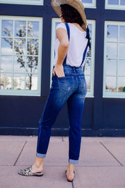 Under Siege Overalls In Dark Wash - Simply Sass Boutique