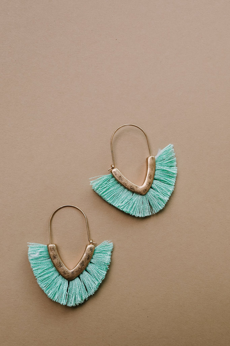 Tasseled V Earrings In MINT - Women's Clothing AfterPay Sezzle KanCan Judy Blue Simply Sass Boutique