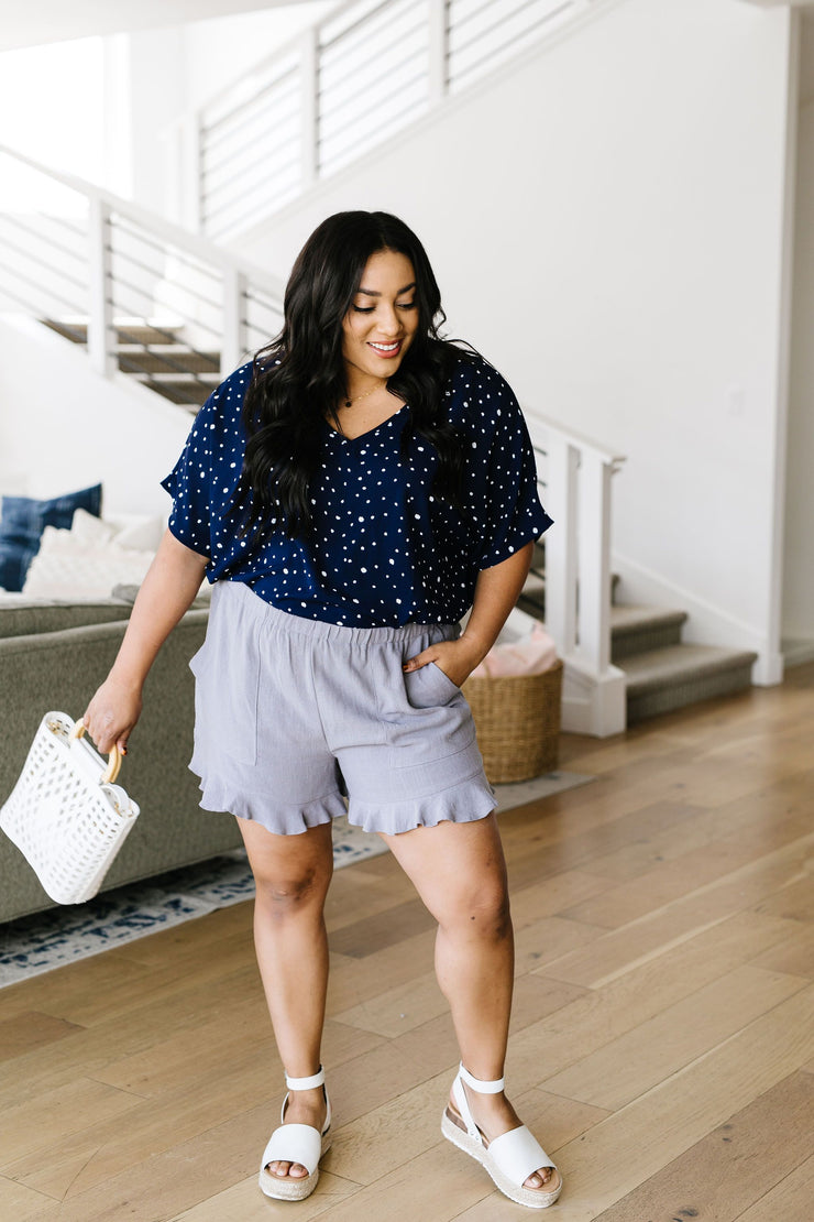 Ruffly Speaking Shorts In Silver - Women's Clothing AfterPay Sezzle KanCan Judy Blue Simply Sass Boutique