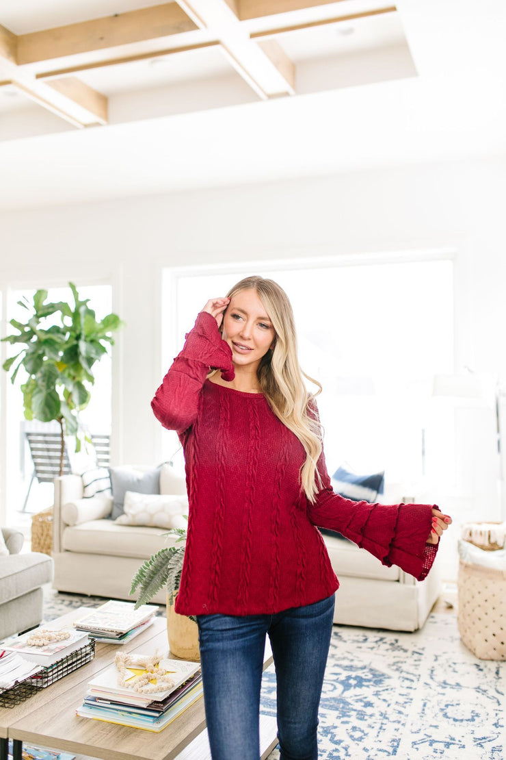 Caitlyn Cable Knit Top In Cranberry - Women's Clothing AfterPay Sezzle KanCan Judy Blue Simply Sass Boutique