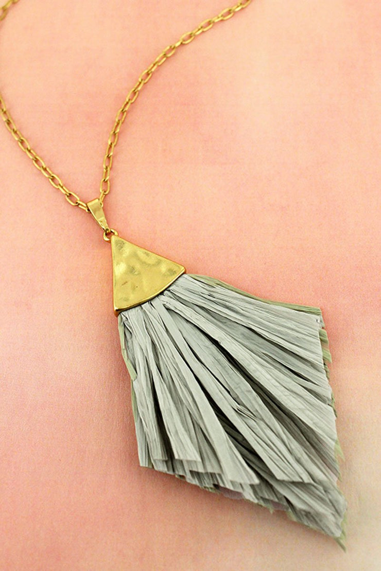 Crave Goldtone and Gray Raffia Pendant Necklace - Women's Clothing AfterPay Sezzle KanCan Judy Blue Simply Sass Boutique