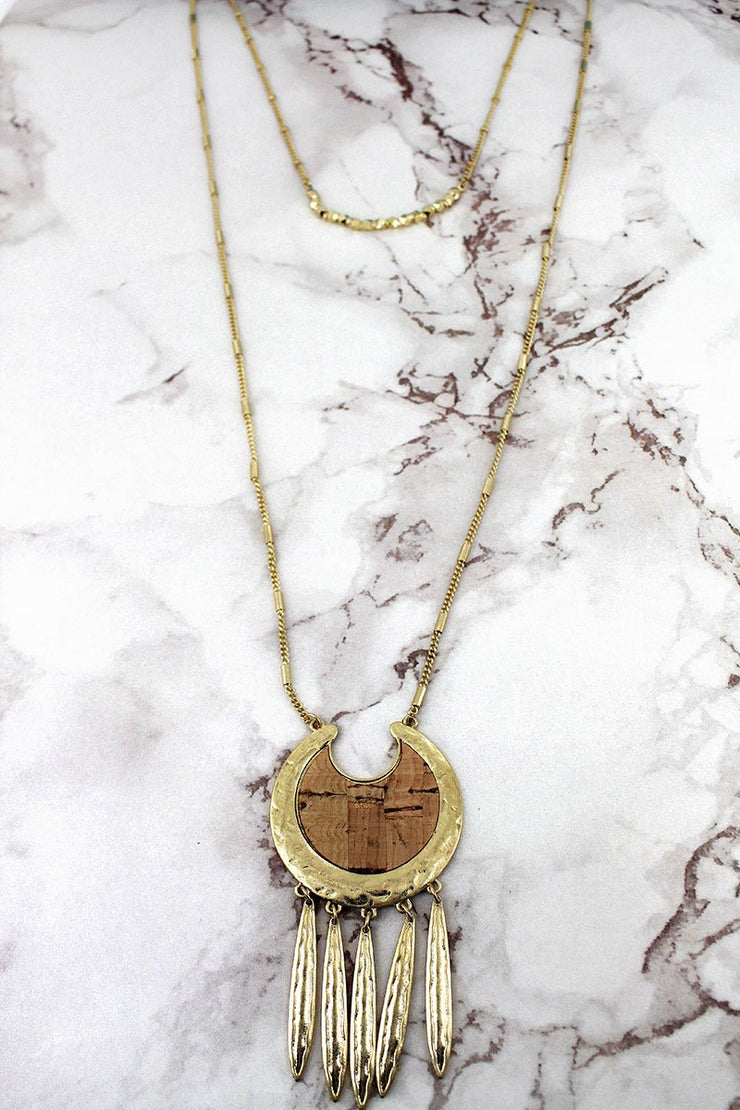 Crave Goldtone and Cork Fringed Crescent Necklace - Women's Clothing AfterPay Sezzle KanCan Judy Blue Simply Sass Boutique
