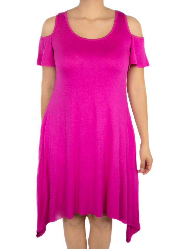 Azalea Cold Shoulder Dress - Magenta - Women's Clothing AfterPay Sezzle KanCan Judy Blue Simply Sass Boutique