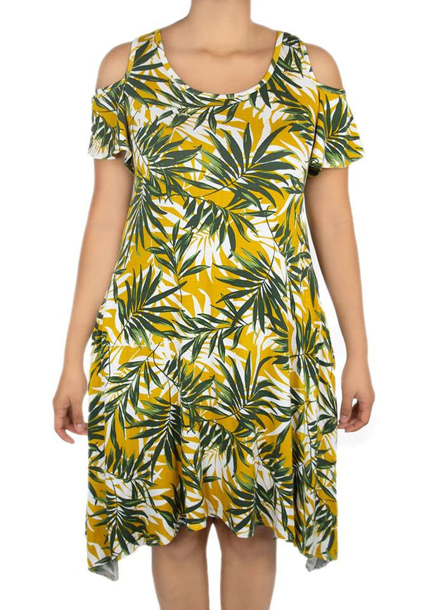 Azalea Cold Shoulder Dress - Palm Print - Women's Clothing AfterPay Sezzle KanCan Judy Blue Simply Sass Boutique