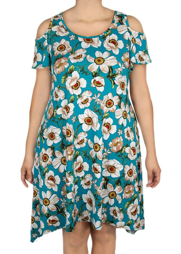 Azalea Cold Shoulder Dress - Mint Floral - Women's Clothing AfterPay Sezzle KanCan Judy Blue Simply Sass Boutique