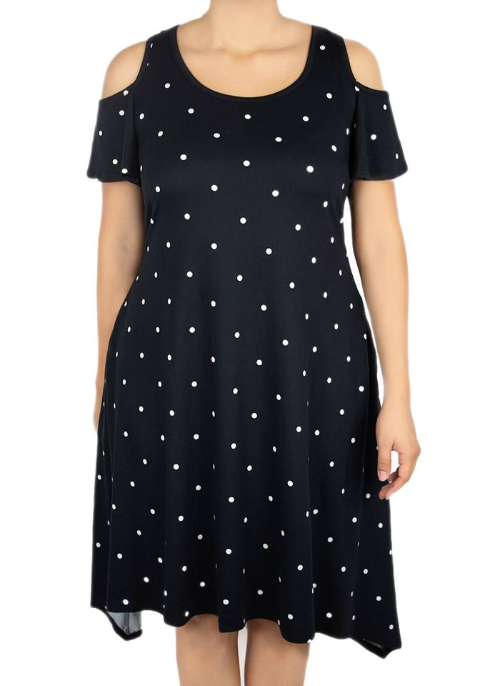 Azalea Cold Shoulder Dress - Black Polka Dot - Women's Clothing AfterPay Sezzle KanCan Judy Blue Simply Sass Boutique
