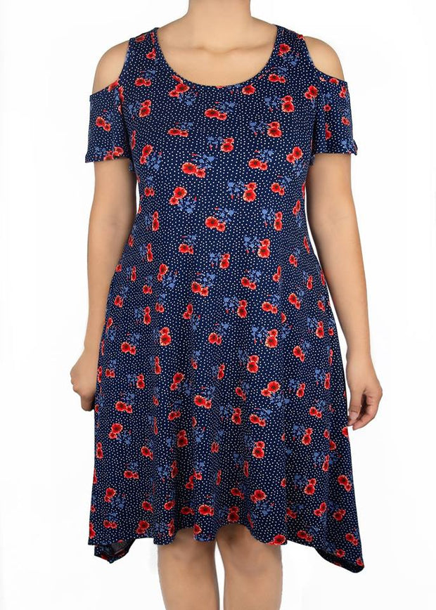 Azalea Cold Shoulder Dress - Navy Floral - Women's Clothing AfterPay Sezzle KanCan Judy Blue Simply Sass Boutique